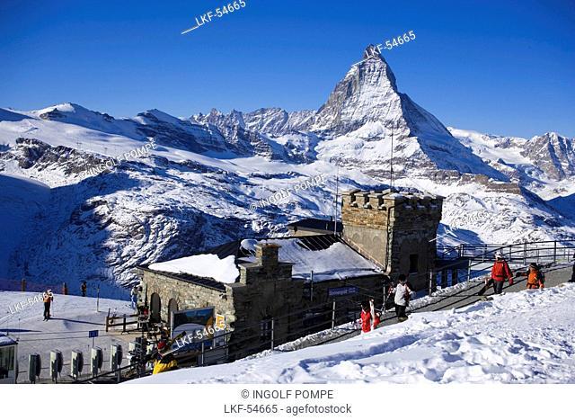 View to Gornergrat station near Kulmhotel, the highest hotel in the Swiss Alps 3100 m at Gornergrat, Matterhorn 4478 m in background, Zermatt, Valais