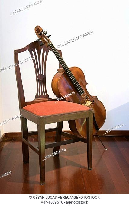 First Pau Casals's cello, House Museum Pau Casals. Coma-ruga beach. Costa Dourada, Catalonia. Spain