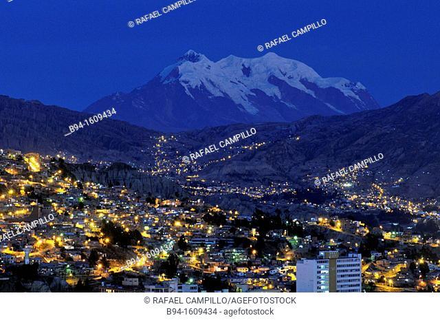 City of La Paz with Illimani mountain, Bolivia