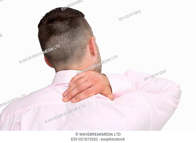 Rear view of business man with neck pain