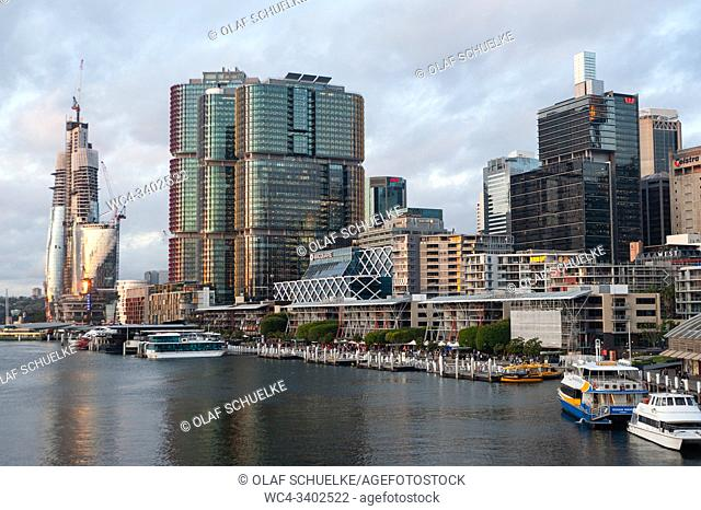Sydney, New South Wales, Australia - City skyline of the central business district in Barangaroo South with the International Towers and the Crown Sydney...