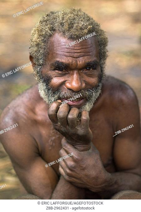 Portrait of an old ni-vanuatu man from the Big nambas tribe, Tanna island, Yakel, Vanuatu
