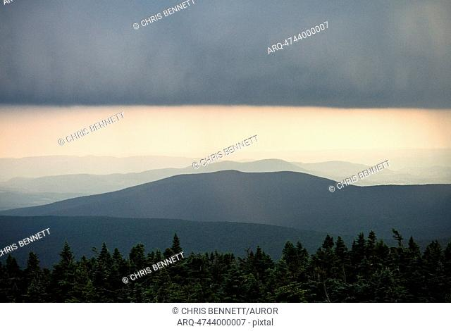 A storm passes over the Appalachian Mountains in Vermont