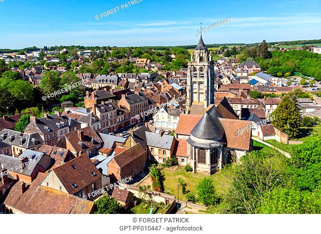 AERIAL VIEW OF THE TOWN OF RUGLES AND THE SAINT-GERMAIN CHURCH, EURE, NORMANDY, FRANCE