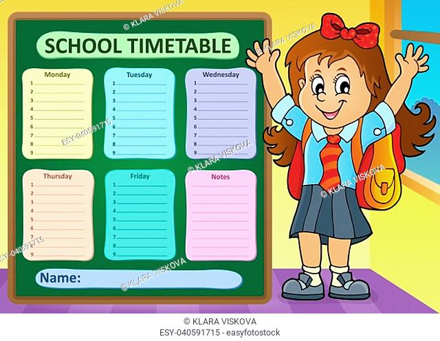 Weekly school timetable design 7 - picture illustration