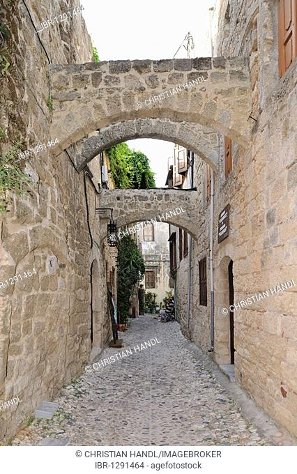 Narrow streets in the historic town centre, Rhodes Town, Rhodes, Greece, Europe