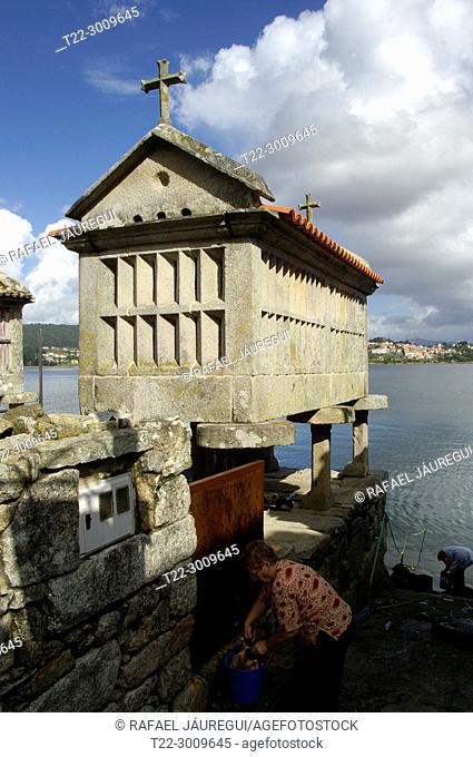 Combarro (Pontevedra) Spain. Typical hórreo of the town of Combarro