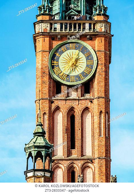 Poland, Pomeranian Voivodeship, Gdansk, Old Town, Detailed view of the Clock Tower of the City Hall