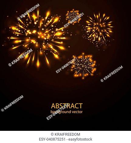 Fireworks on twilight background vector. Firework new year holiday celebration