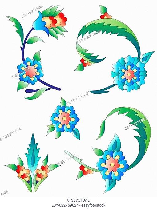 Ottoman art flowers eleven