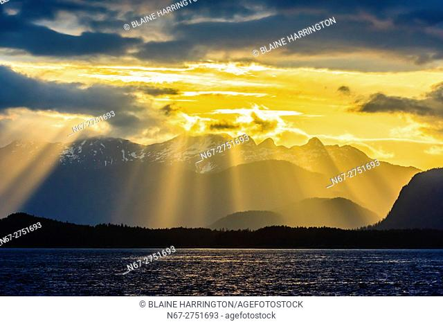 Sunset over Baranof Island, near Freshwater Bay, Inside Passage, Southeast Alaska USA