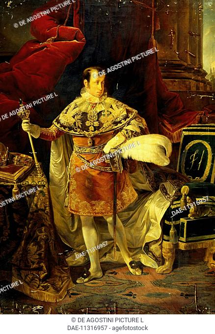 Portrait of Ferdinand I of Austria (Vienna, 1793-Prague, 1875), Emperor of Austria and King of Hungary. Painting by Giuseppe Molteni (1800-1867), oil on canvas