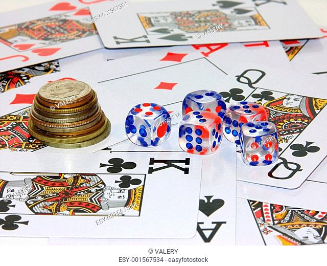 coins, playing bones and playing cards