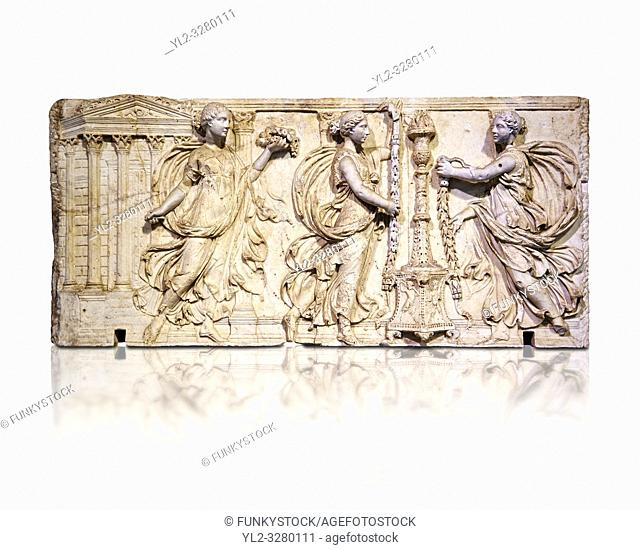 Altar of the Twelve Gods a Roman relief sculpture. This curious object, perhaps a Zodiacal altar, has the signs of the zodiac and busts of the twelve gods...