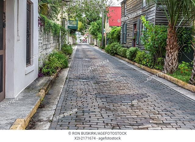 Residential brick paved street in the historic district of downtown St. Augustine, Florida