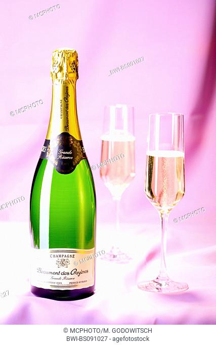 bottle of champagne with two filled glasses