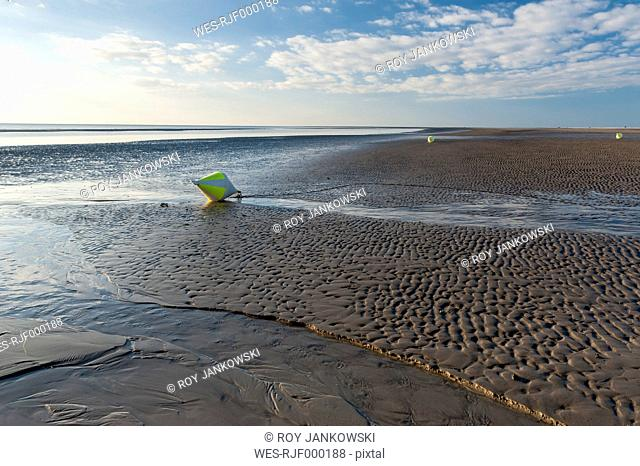 Germany,Schleswig-Holstein, North Sea, Beach of Sankt Peter-Ording, Buoys
