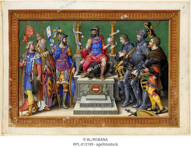The Emperor Charles V enthroned among his enemies. From a design of Martin van Heemskerck Image taken from Victories of Emperor Charles V