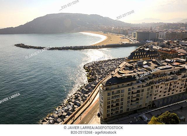 Urumea river mouth. Zurriola beach. Donostia. San Sebastian. Gipuzkoa. Basque Country. Spain