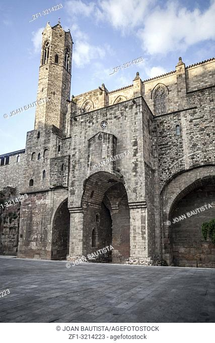 Gothic quarter, square with medieval walls of Barcelona