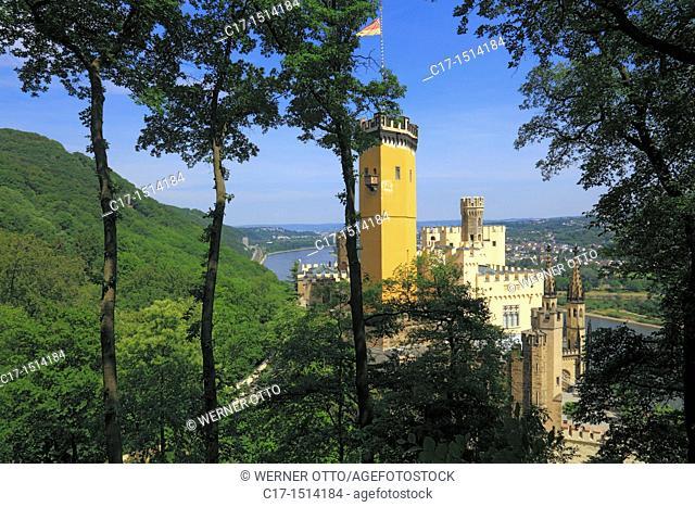Germany, Koblenz, Rhine, Moselle, Maifeld, Eifel, Hunsrueck, Westerwald, Rhineland-Palatinate, Koblenz-Stolzenfels, castle Stolzenfels, Middle Ages, neo-Gothic