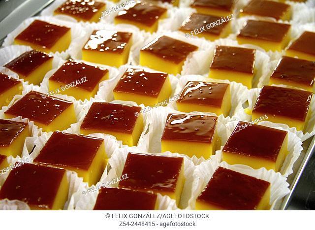 Tocinillos de cielo, Spanish sweets made which egg yolk and sugar, Gijon, Asturias, Spain