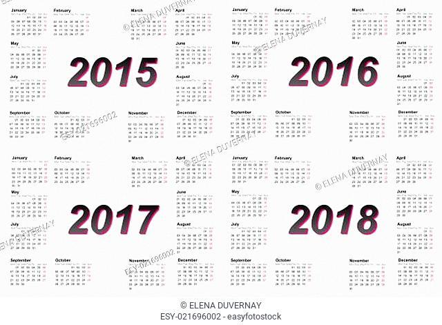 Set of european 2015, 2016, 2017 and 2018 year calendars