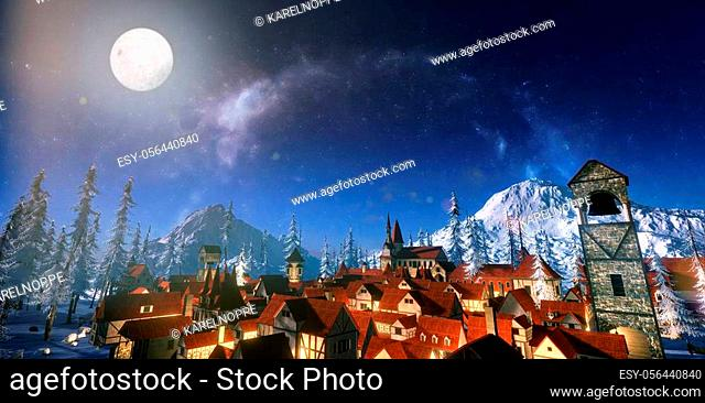 3d render of small mountain village surrounded with mountains and pine trees covered with snow. Full moon illuminating town at dawn