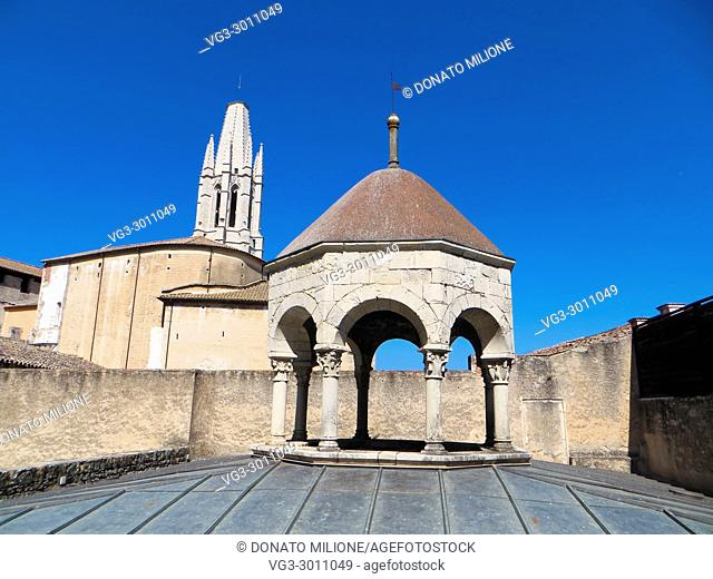 Roof of the Arab Baths, old town of Girona, Catalonia, Spain