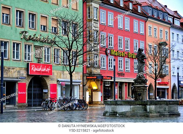 Herkulesbrunnen, Hercules fountain, facades of historic townhouses in the evening, Maximilianstrasse - main touristic promenade in old town, Bayreuth
