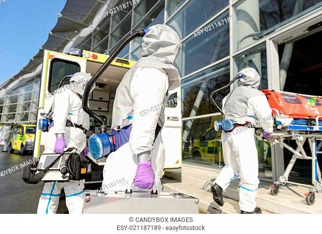 HAZMAT team entering contaminated building