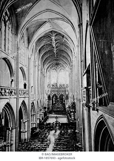 Early autotype of Caen, Basse-Normandie, France, historical picture, 1884