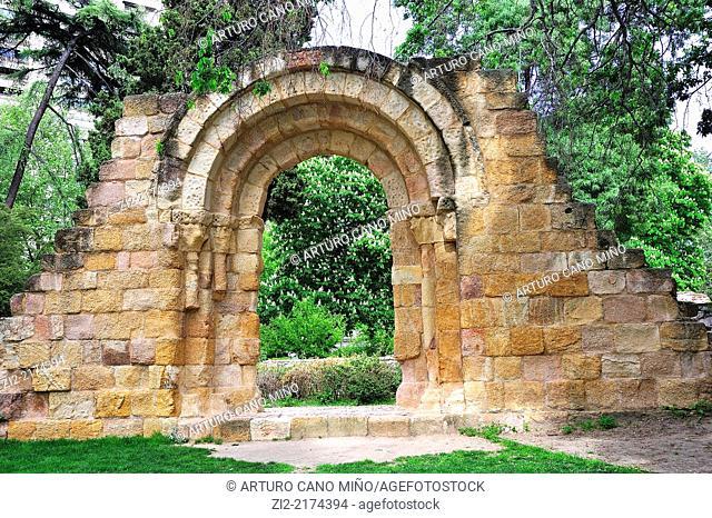 Romanesque ruins of San Pelayo and San Isidro church. The Buen Retiro Park, Madrid, Spain