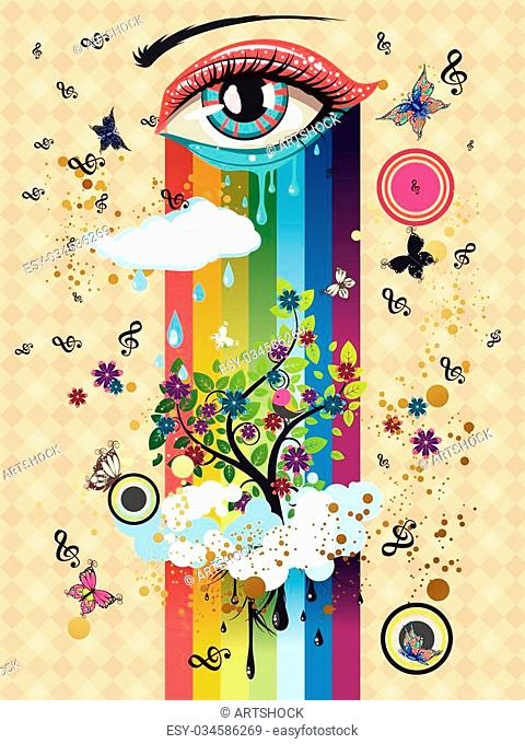Surreal illustration with eye of blue and red color, clouds, butterflies and music notes