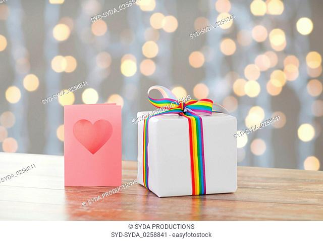 gift with gay awareness ribbon and greeting card