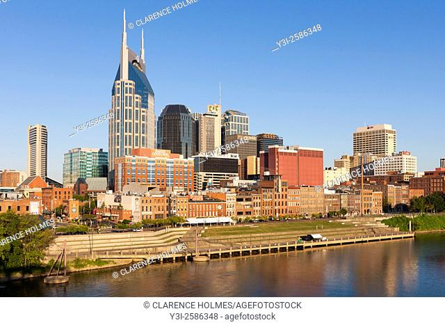 An early morning view of the skyline of Nashville, Tennessee
