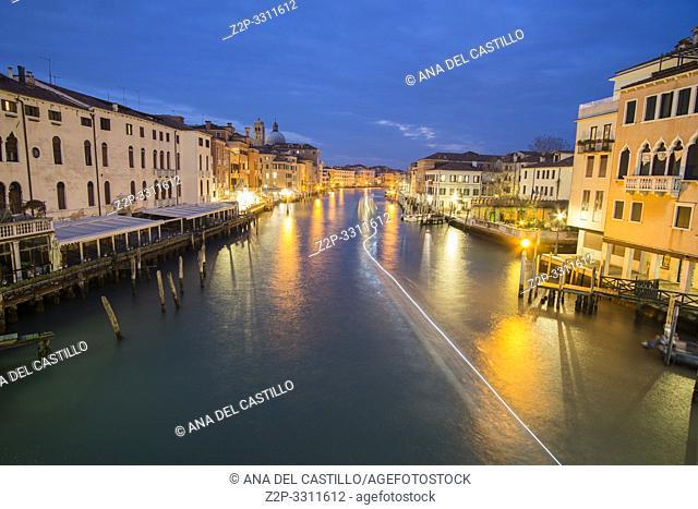 Venice Veneto Italy on January 20, 2019: Twilight in Grand Canal