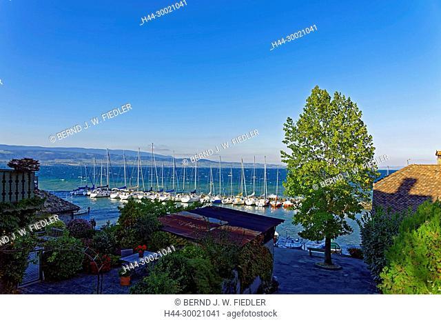 Alt, Hafen, Port de Pecheurs, Genfer See, Segelboote