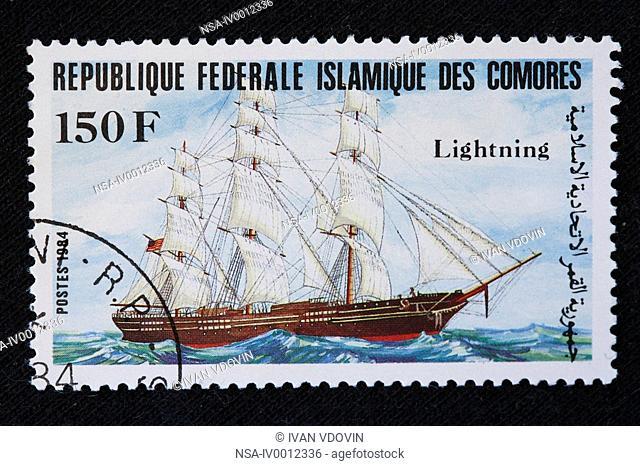 Sail ship Lightning, postage stamp, Comoros, 1984