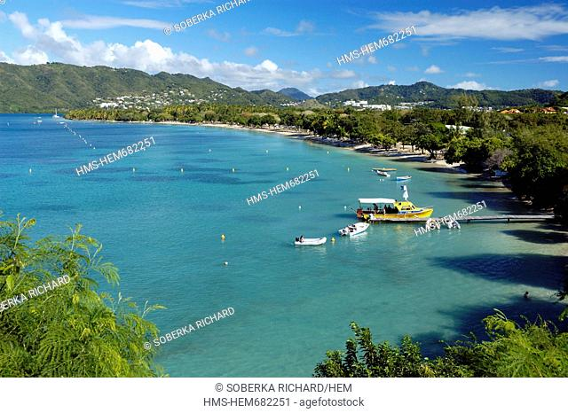 France, Martinique French West Indies, Sainte Anne, boats in the bay