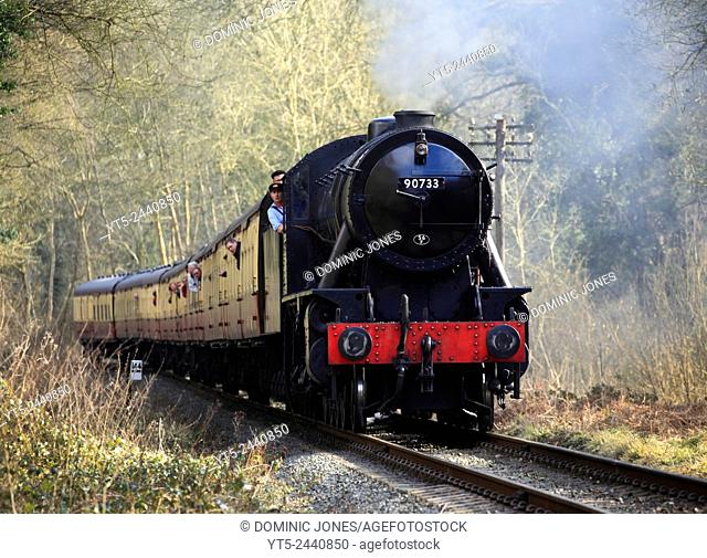WD 2-8-0 powers through the Shropshire countryside during the Severn Valley Railway spring gala 2015. Shropshire, England, Europe