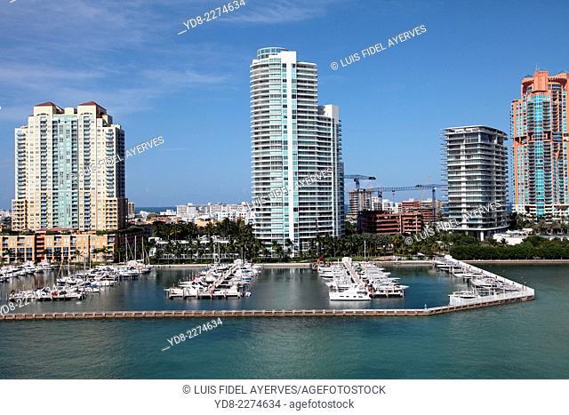 Panoramic view of the bay and Miami Beach Miami, Florida, USA