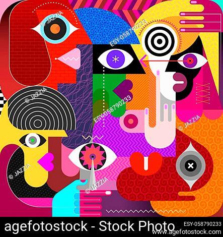 Modern art portrait of Five People vector illustration
