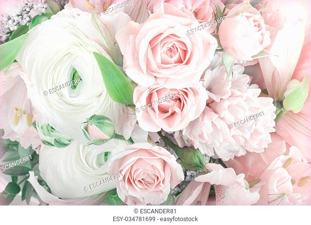 Amazing flower bouquet arrangement close up in pastel colors