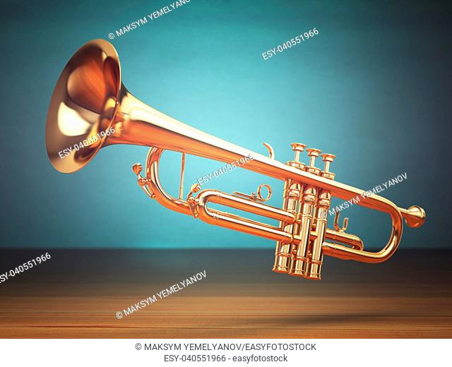 Polished brass trumpet on green background. 3d