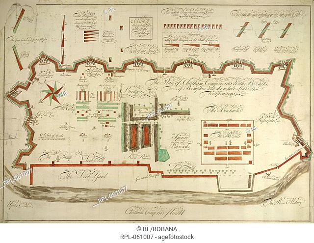 Chatham Camp Whole plan Plan of Chatham Camp 1761 with barracks town of Brompton and lines of fortification. Originally published/produced in 1761
