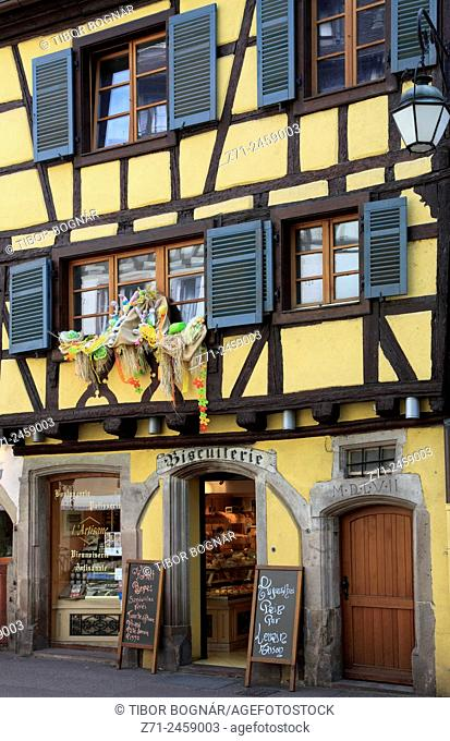 France, Alsace, Colmar, street scene, shop