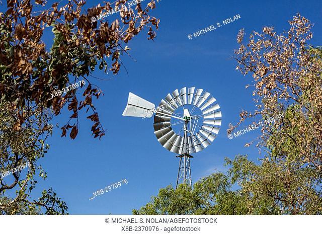 Windmill at station near the Ord River, Kimberley, Western Australia, Australia