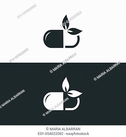 Nature pill icon. Isolated image. Natural pharmacy vector illustration