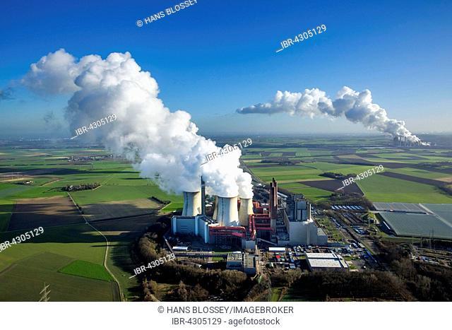 Neurath lignite power plant, behind Niederaußem power plant, RWE Power energy company, vapor cloud, plume, emission, Grevenbroich, Rhineland